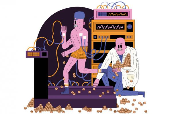 Illustration of man running on treadmill while researcher collects gold coins. Credit to John Malto.