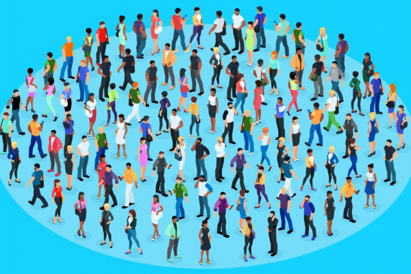 illustration of many people standing in within a circle