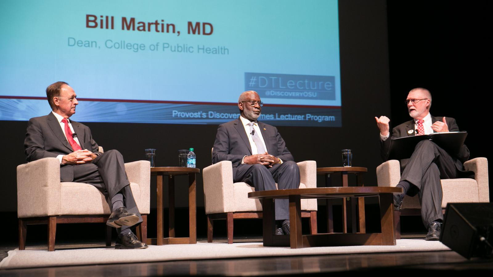 Bill Martin, David Satcher, and Bruce McPheron at the Discovery Themes Lecture